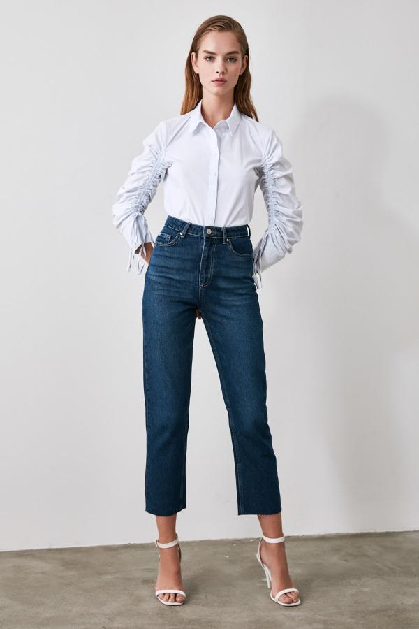 خرید اسان شلوار جین زنانه اسپرت جدید برند ترندیول میلا ترک رنگ لاجوردی کد ty46303970