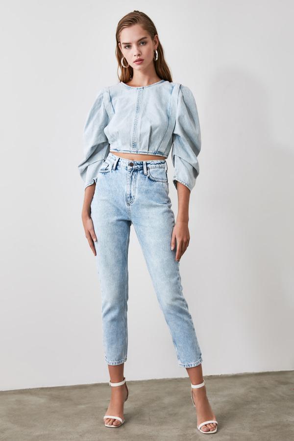شلوار جین زنانه مدل دار برند ترندیول میلا ترک رنگ آبی کد ty46304018