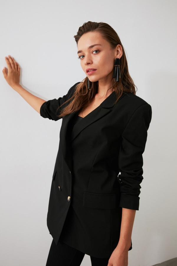 ژاکت زنانه فروشگاه اینترنتی برند ترندیول میلا ترک رنگ مشکی کد ty46500884