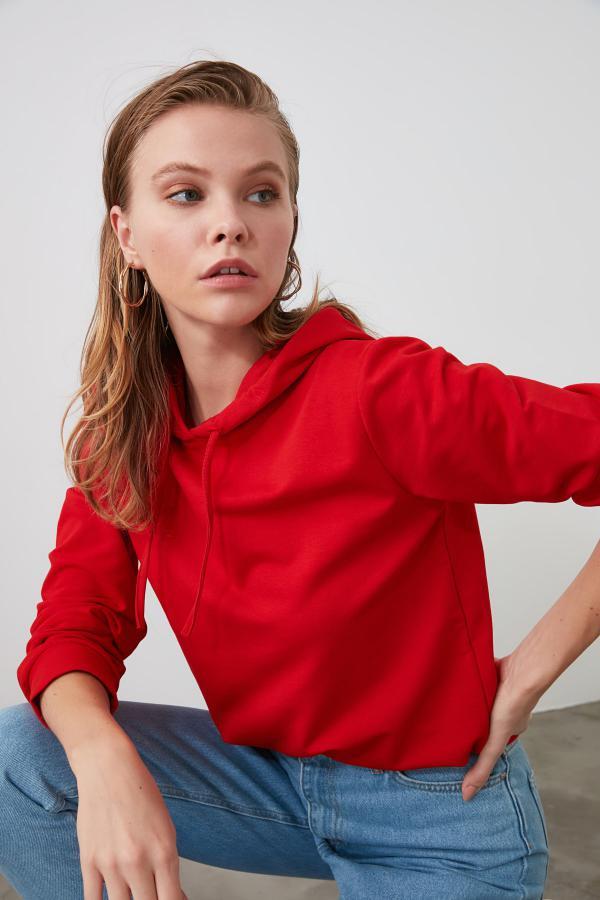خرید پستی سویشرت شیک زنانه برند TRENDYOLMİLLA رنگ قرمز ty46655623