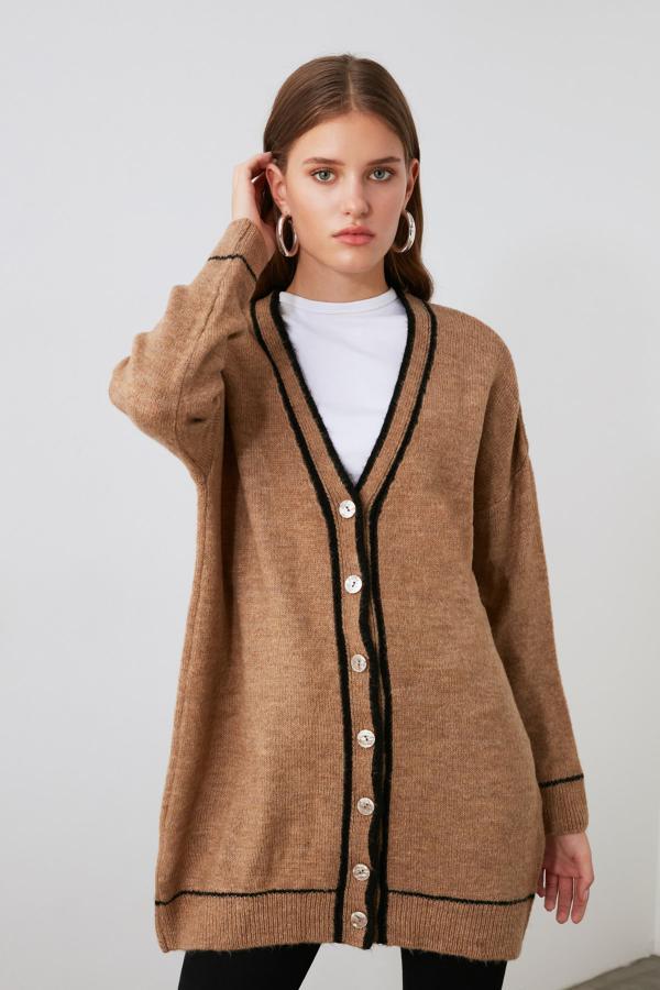 سفارش ژاکت بافتی زنانه ارزان مارک ترندیول میلا رنگ قهوه ای کد ty46673131
