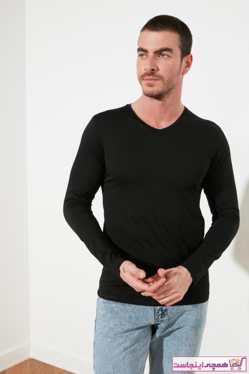 خرید پستی تیشرت جدید برند ترندیول مرد رنگ مشکی کد ty46880964