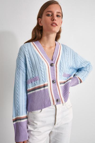 فروش پستی ست ژاکت زنانه برند ترندیول میلا ترک رنگ آبی کد ty46934279