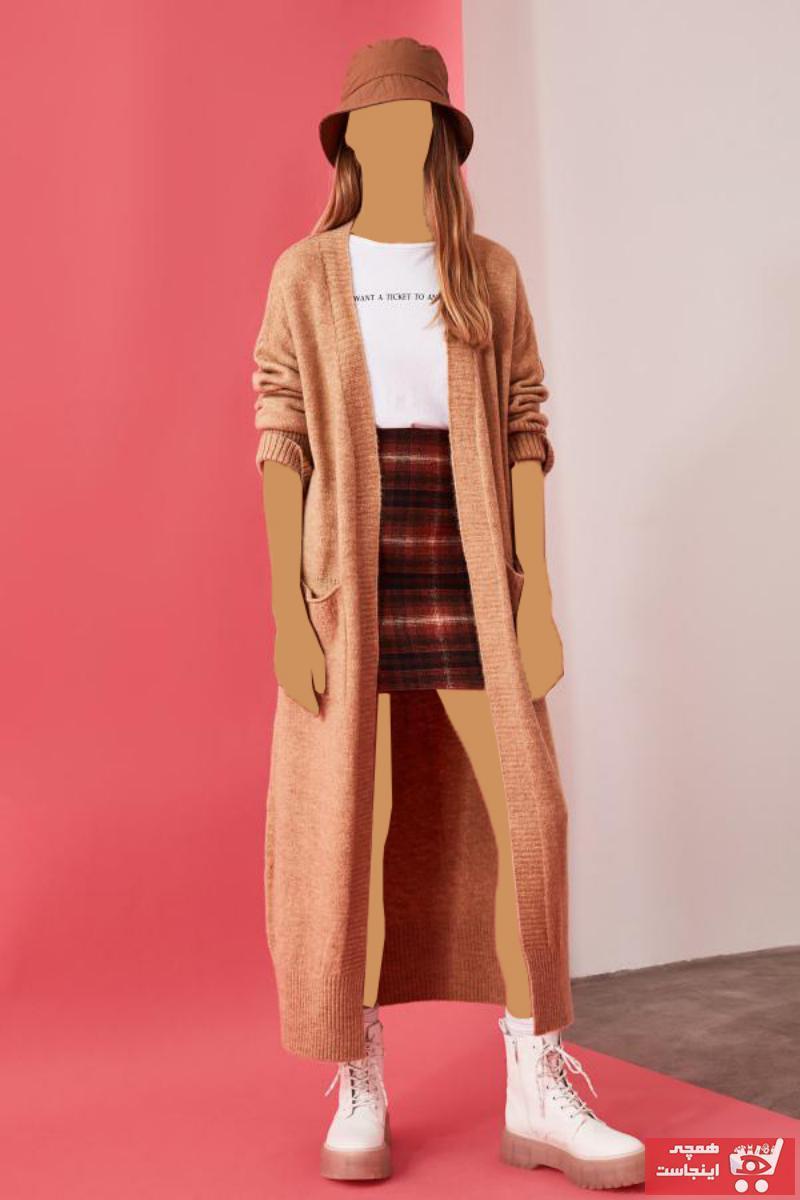 فروش نقدی ژاکت بافتی زنانه خاص برند TRENDYOLMİLLA رنگ قهوه ای کد ty47081992