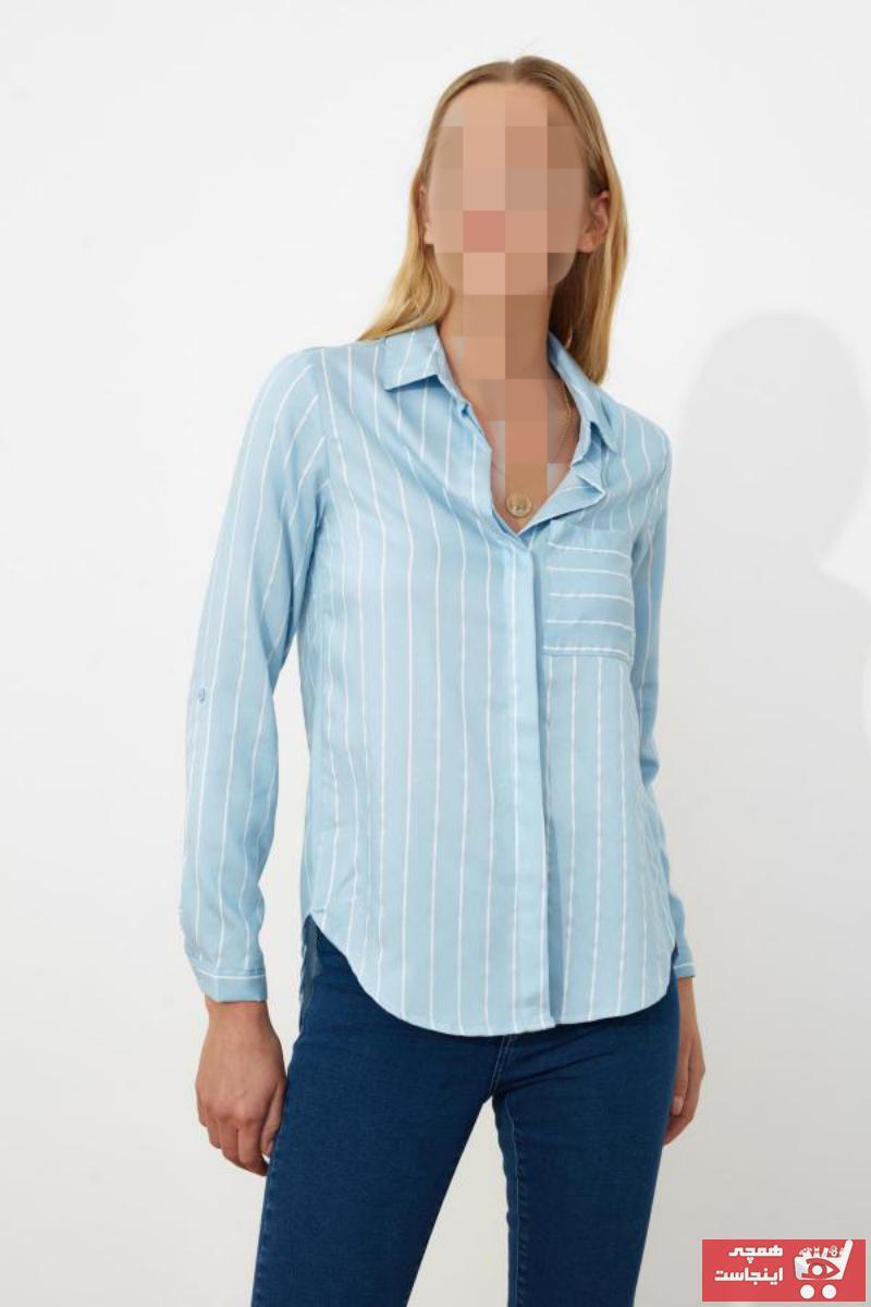شومیز زنانه فروشگاه اینترنتی برند ترندیول میلا ترک رنگ آبی کد ty4708710