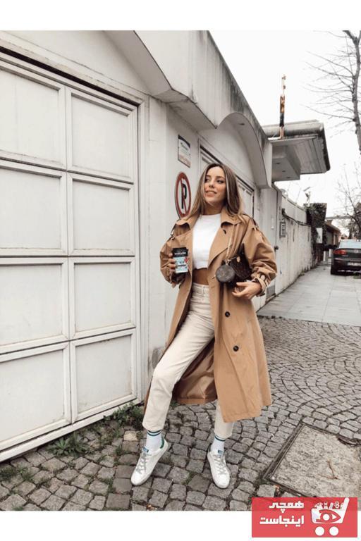 خرید پستی مانتو زمستانی زنانه پارچه  برند modaçelikler رنگ قهوه ای کد ty47123016