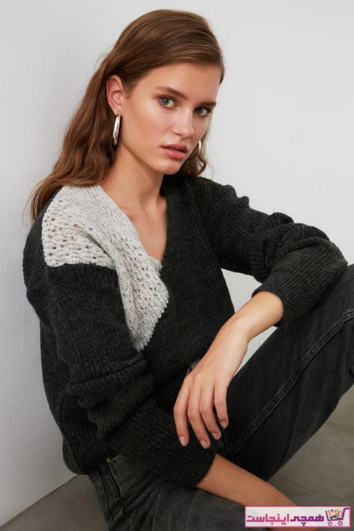 پلیور جدید زنانه شیک برند ترندیول میلا رنگ نقره ای کد ty47546051