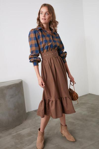 خرید نقدی پیراهن زنانه ترک برند TRENDYOLMİLLA رنگ قهوه ای کد ty47895633