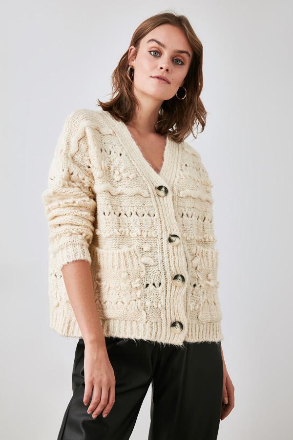 خرید اسان ژاکت بافتی زنانه زیبا برند TRENDYOLMİLLA رنگ بژ کد ty47929310