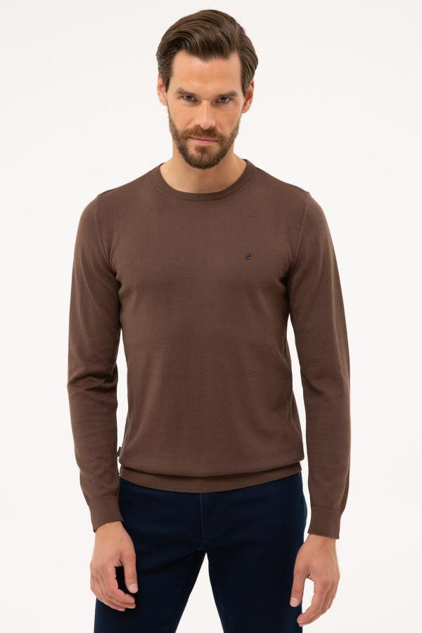 خرید اسان پلیور مردانه اسپرت جدید برند پیرکاردین رنگ قهوه ای کد ty48061687
