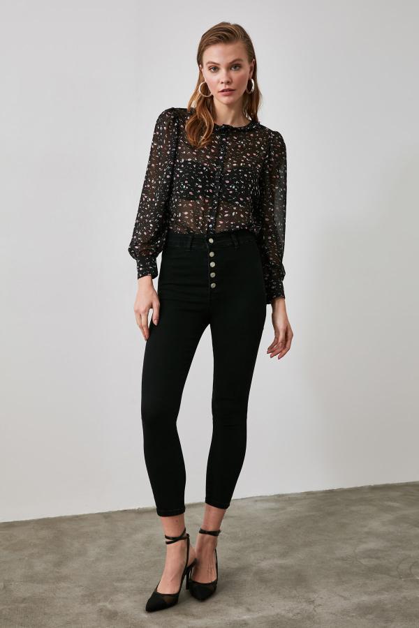 شلوار جین زنانه شیک و جدید برند ترندیول میلا ترک رنگ مشکی کد ty48120699