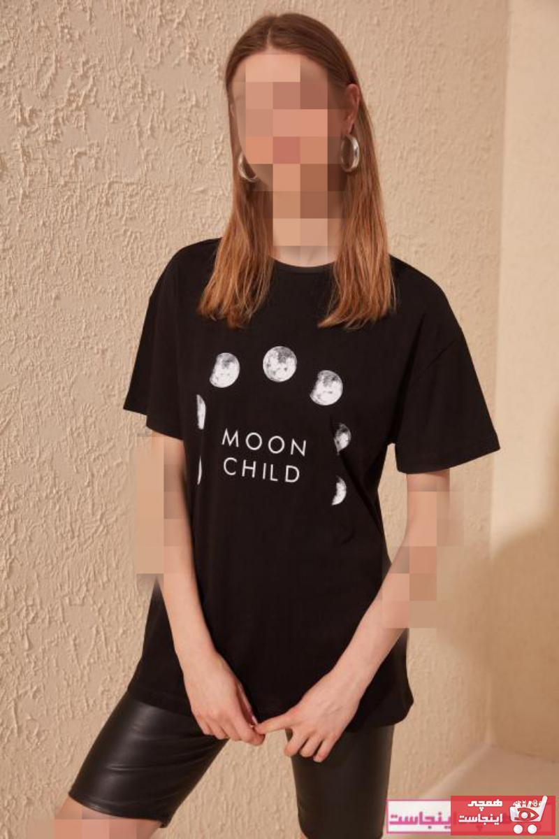 تیشرت زنانه خاص برند ترندیول میلا رنگ مشکی کد ty4924563