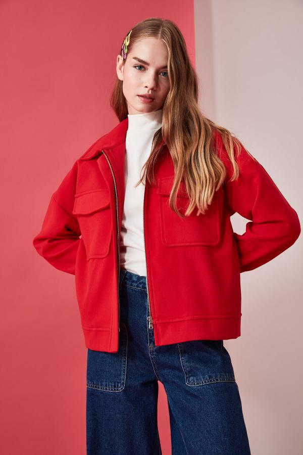 فروش پالتو جدید برند ترندیول میلا رنگ قرمز ty49601867