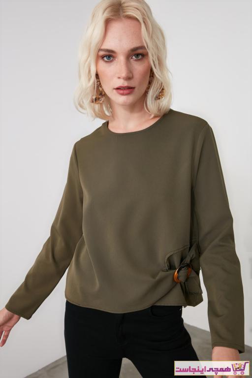 بلوز زنانه مدل دار برند TRENDYOLMİLLA رنگ خاکی کد ty49638925