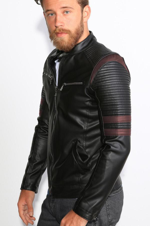 خرید اینترنتی ژاکت چرم خاص برند Delpino رنگ زرشکی ty49732988