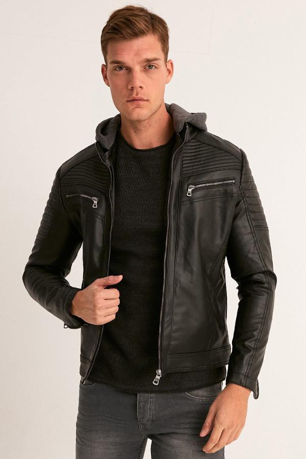 سفارش ژاکت چرم مردانه ارزان برند Fulla Moda رنگ مشکی کد ty50010222
