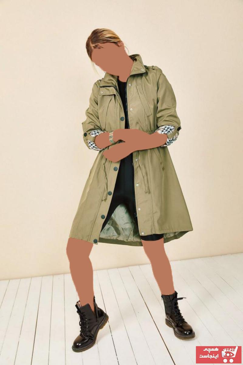 خرید پستی مانتو زمستانی زنانه پارچه  برند HAKKE رنگ خاکی کد ty50016100
