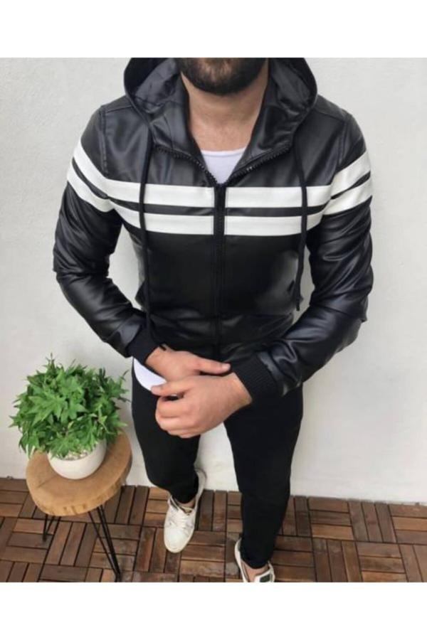 کاپشن چرم مردانه پارچه نخی برند Penguen Brand رنگ مشکی کد ty50051924