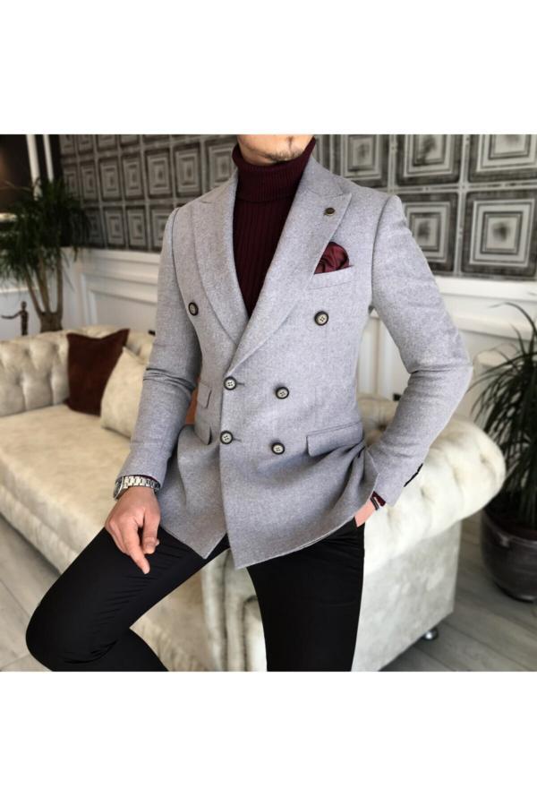 کت تک مردانه ست برند TerziAdemAltun رنگ نقره ای کد ty50087205