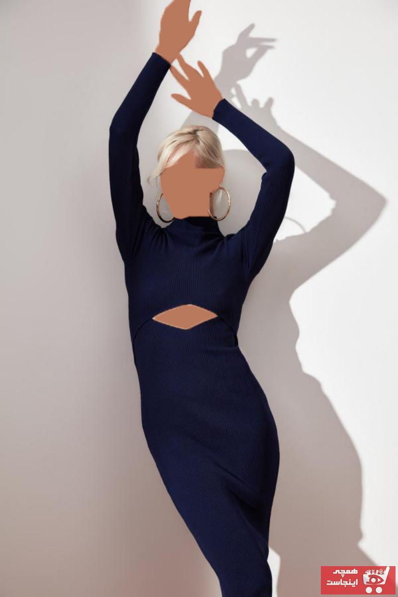 پیراهن زنانه طرح دار برند ترندیول میلا ترک رنگ لاجوردی کد ty50116248