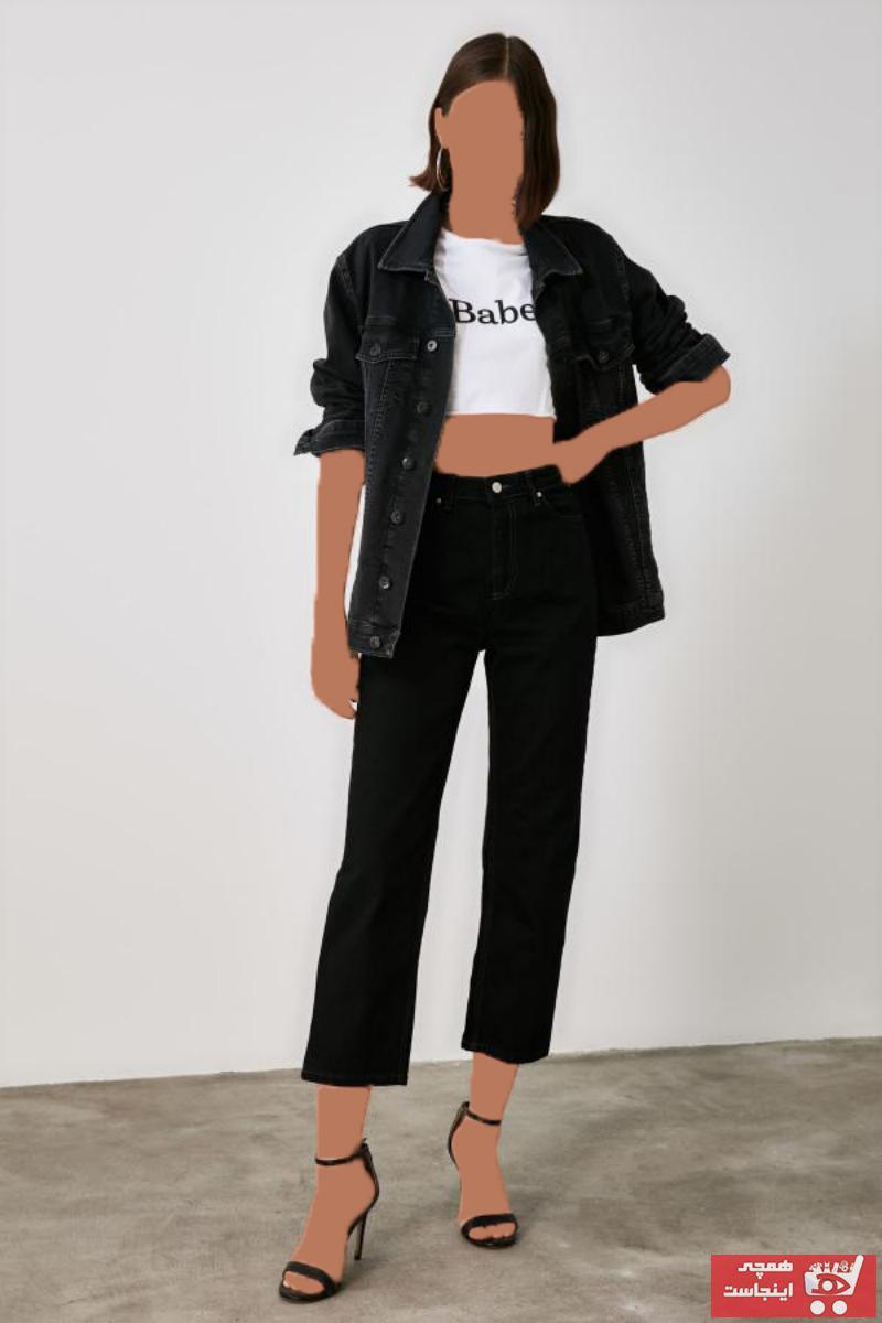 شلوار جین جدید زنانه شیک مارک ترندیول میلا رنگ مشکی کد ty50183190
