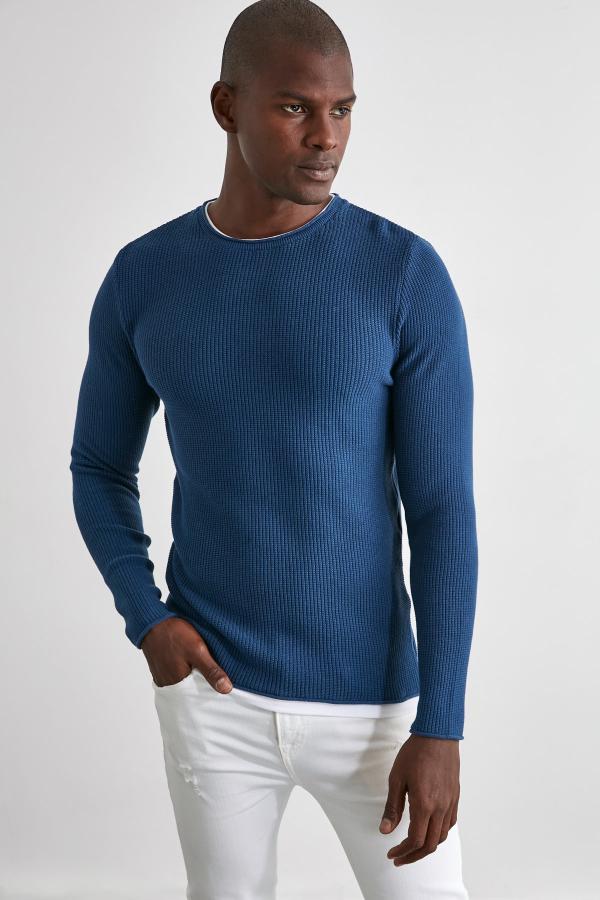 خرید نقدی پلیور بافتی جدید مارک ترندیول مرد رنگ آبی کد ty50362856