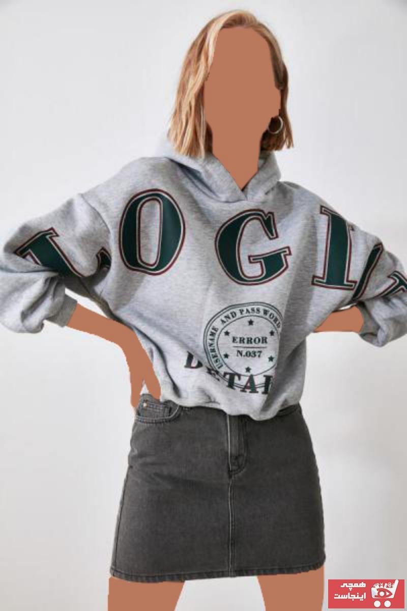 سویشرت زنانه مدل دار برند ترندیول میلا ترک رنگ نقره ای کد ty50382138