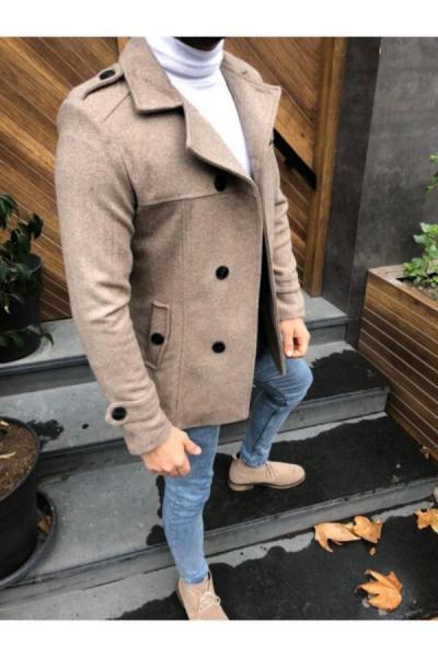 پالتو مردانه فانتزی برند MARKA KRALI رنگ قهوه ای کد ty50782871