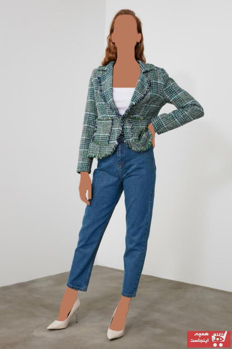 خرید انلاین شلوار جین زنانه طرح دار مارک ترندیول میلا رنگ آبی کد ty50790522