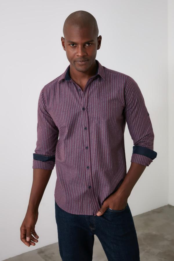 پیراهن مدل 2020 مارک ترندیول مرد رنگ زرشکی ty50794958