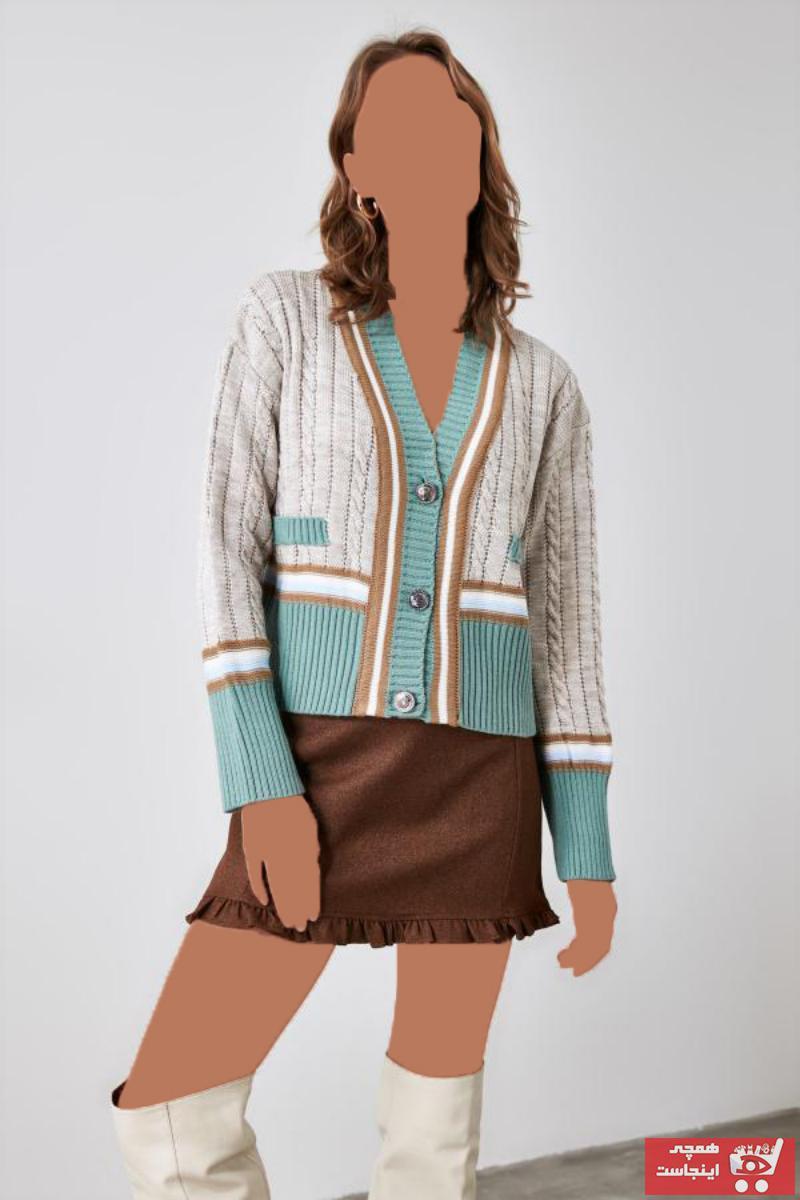 ژاکت بافتی زنانه فروشگاه اینترنتی برند ترندیول میلا ترک رنگ نقره ای کد ty50825517