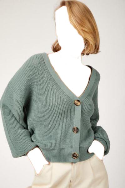 ژاکت بافتی زنانه کوتاه برند LE CARAMBOLE رنگ سبز کد ty50906712