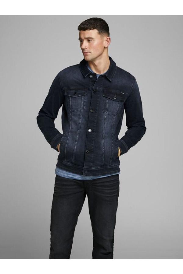خرید انلاین کاپشن چرم جدید مردانه شیک مارک جک اند جونز رنگ آبی کد ty50935170