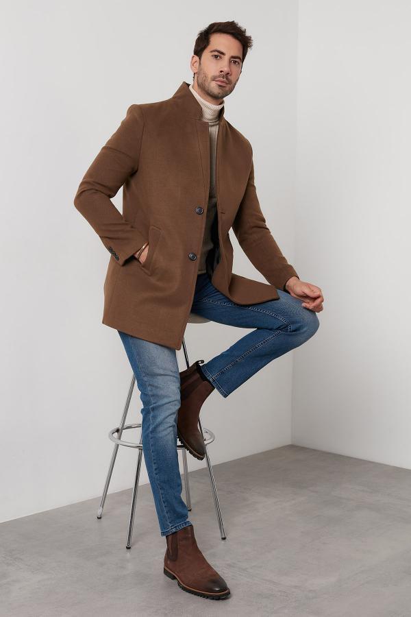 خرید پالتو مردانه شیک برند Buratti رنگ قهوه ای کد ty51499662