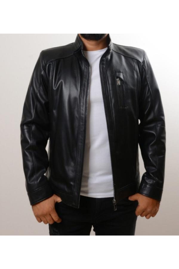 خرید مستقیم ژاکت چرم جدید برند YÜCE DERİ رنگ مشکی کد ty52086454
