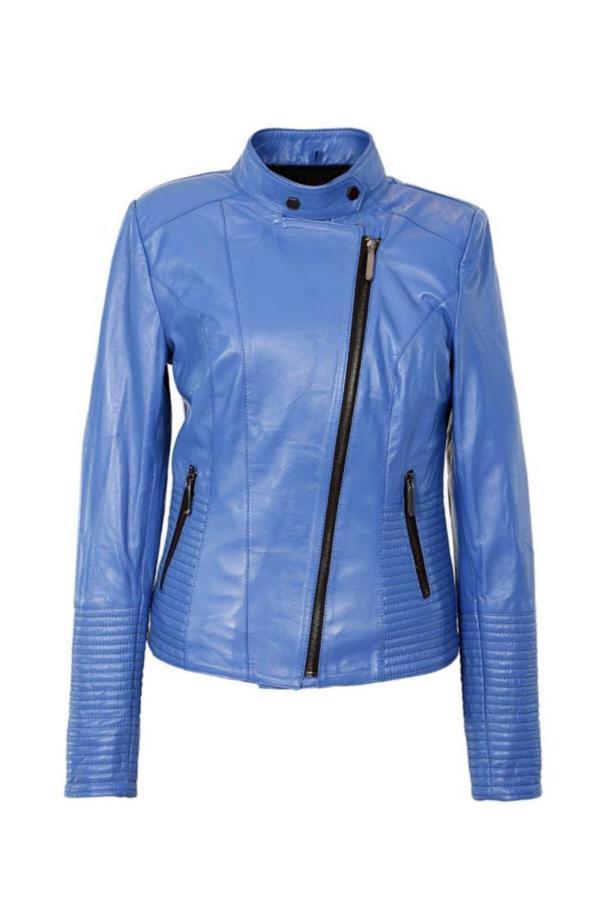 کاپشن چرم خاص دخترانه برند Sanalbolluk رنگ آبی کد ty52162705