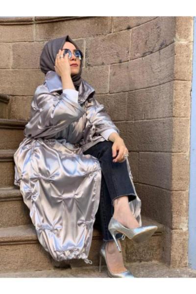 فروش مانتو پاییزی زنانه  برند Tuğvala رنگ نقره کد ty52301107