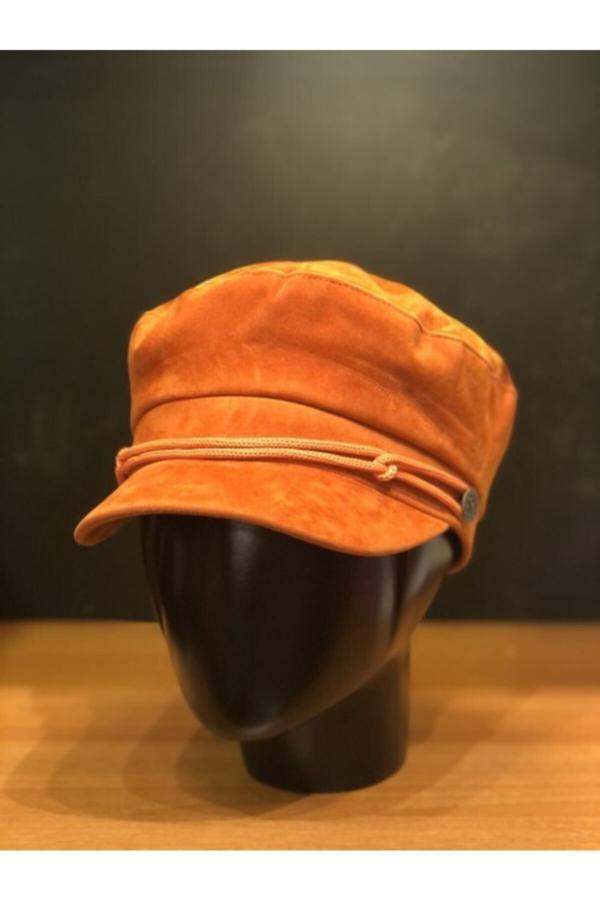 کلاه زنانه مدل دار برند Şapkacımadam رنگ نارنجی کد ty52420172