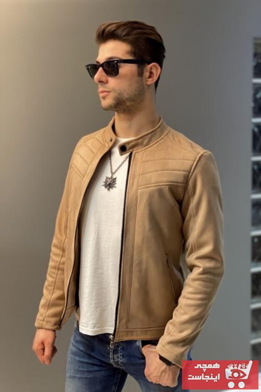 خرید ژاکت چرم غیرحضوری برند Jaglion رنگ قهوه ای کد ty52439732
