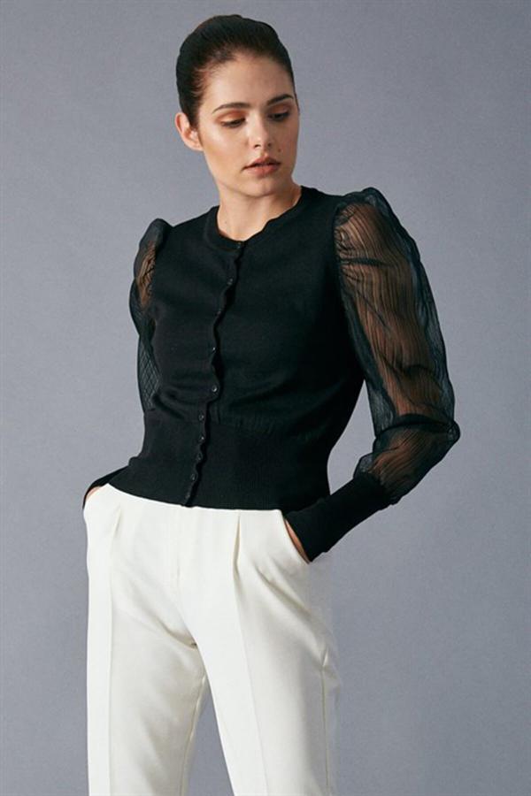 ژاکت بافتی زنانه اسپرت جدید برند APAYDIN رنگ مشکی کد ty52579318