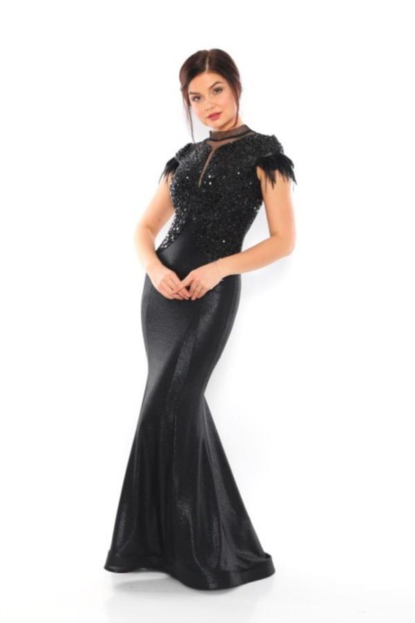 خرید لباس مجلسی زنانه ترک جدید برند layla collection رنگ مشکی کد ty52581953