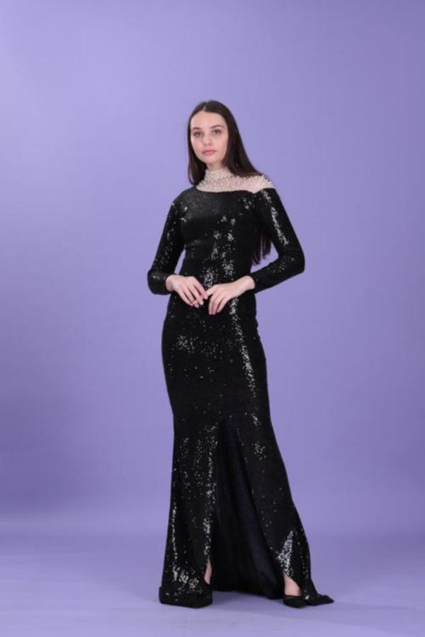 خرید انلاین لباس مجلسی جدید زنانه شیک برند layla collection رنگ مشکی کد ty52582479