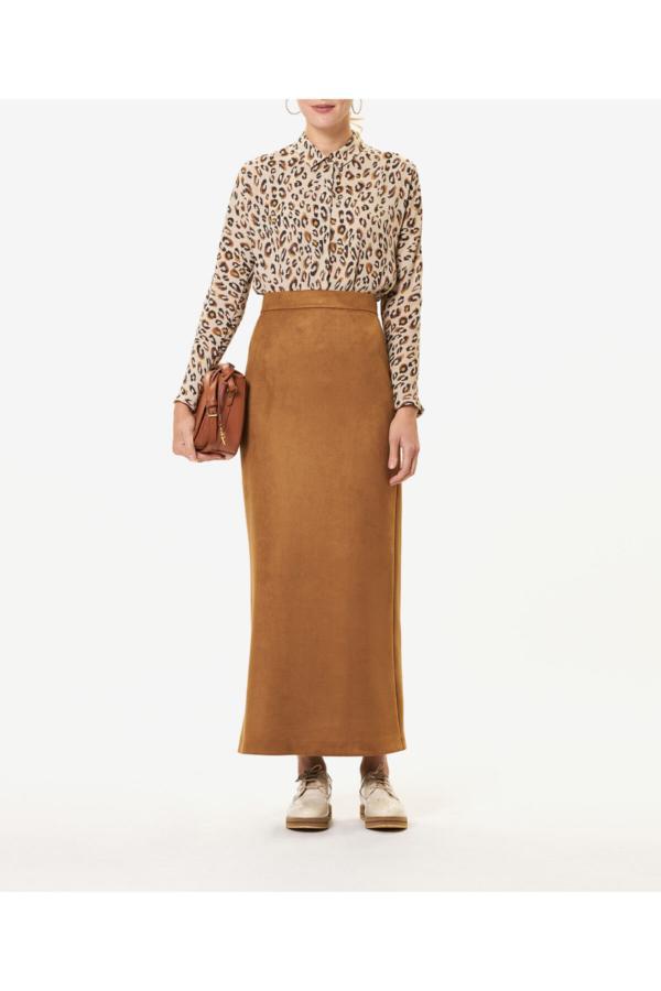 دامن زنانه ساده برند Aker رنگ قهوه ای کد ty52635991