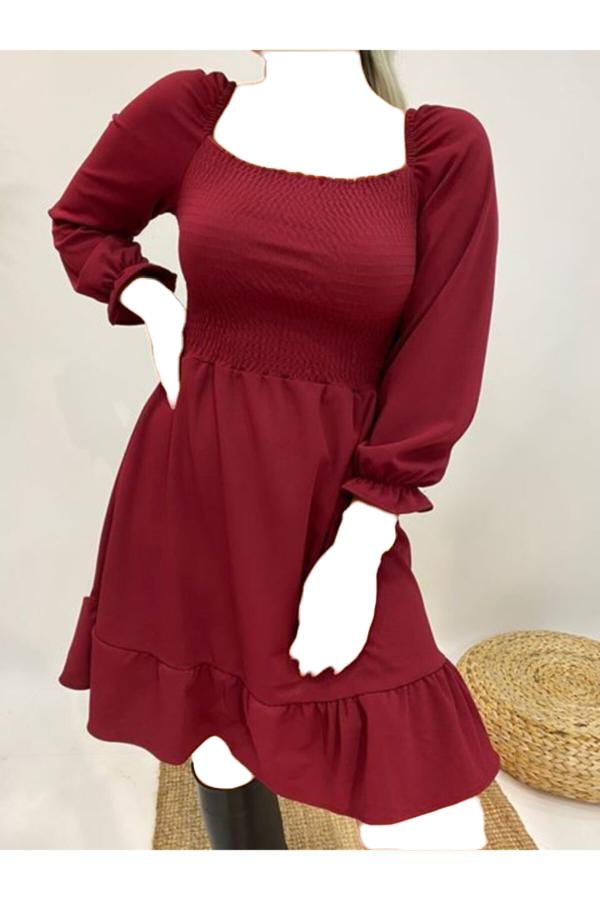 فروش پستی ست پیراهن زنانه برند Akça Butik رنگ زرشکی ty52658350