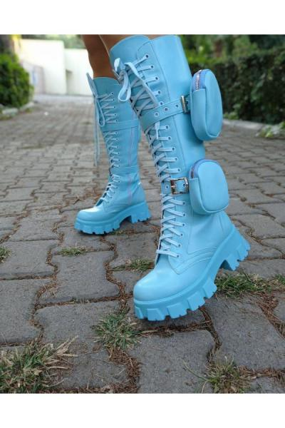 فروش چکمه زنانه خفن برند Stocks Shoes رنگ آبی کد ty52664745