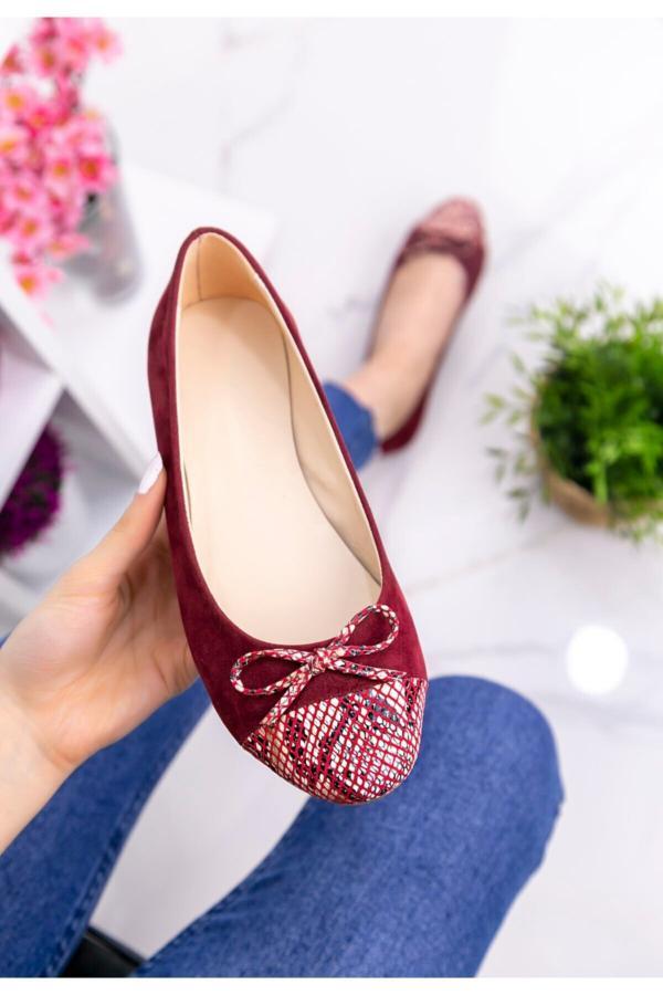 خرید پستی کفش تخت زنانه برند kendimarkan رنگ زرشکی ty52683297