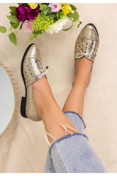 سفارش کفش تخت زنانه ارزان برند kendimarkan رنگ طلایی ty52683399