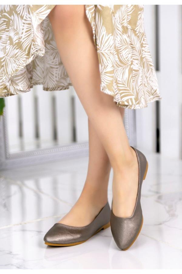 خرید انلاین کفش تخت دخترانه خاص برند kendimarkan رنگ متالیک کد ty52683744