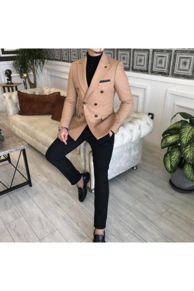 خرید انلاین کت تک مردانه طرح دار برند TerziAdemAltun رنگ بژ کد ty52780098