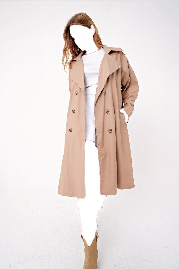 فروش مانتو پاییزی زنانه خفن برند Trend Alaçatı Stili رنگ بژ کد ty52863530